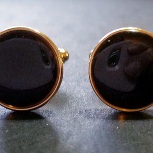 Other - Vintage Goldtone Black Enamel Cufflinks